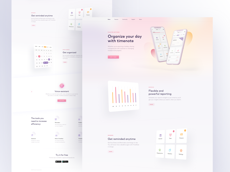 TimeNote - Landing Page web task stats round landing graphic digital design colors clean blur