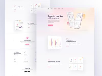 TimeNote - Landing Page web task stats round landing graphic digital design colors clean blur