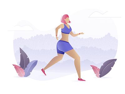 Illustration 🏃🏼♀️ illustration running girl colors leaf gradient noise blue pink clean shadow minimal
