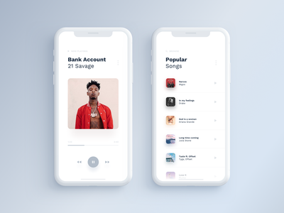 Hearme - Music Application (new version) pink blue typography minimal digital ux ui gradient player white app clean music application