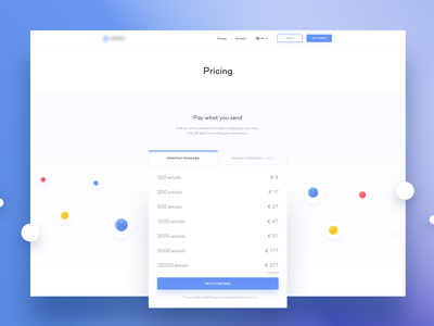 Pricing page round design white graphic minimal blue digital app clean website www shadows blur colors gradient uidesign ux ui statistics pricing page