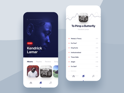 Music Discover App ux digital typography chart application shadow round graphic blur white colors minimal mobile ui blue gradient design clean app music