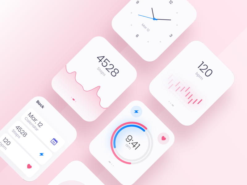 Watch OS - Light theme pink blue blur round design clean colors digital app applicaiton health ux ui minimal shadow white gradient chart watch os watch