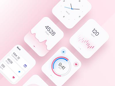 Watch OS - Light theme pink blue blur round design clean colors digital app applicaiton health ux ui minimal shadow white gradient chart watch os watch