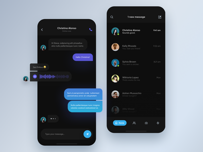 Dark UI Chat message chat typography application round blur shadow illustration white colors ux minimal mobile blue ui gradient digital app design clean