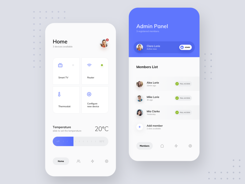 Smarthome vector round graphic application uxpin home smart blur white colors ux minimal mobile blue ui gradient digital design clean app