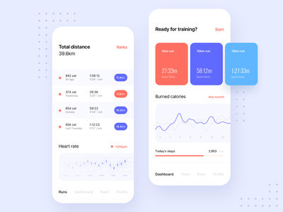 Health&Training Application chart sport training health typography application shadow round white colors ux minimal mobile blue ui gradient digital app design clean
