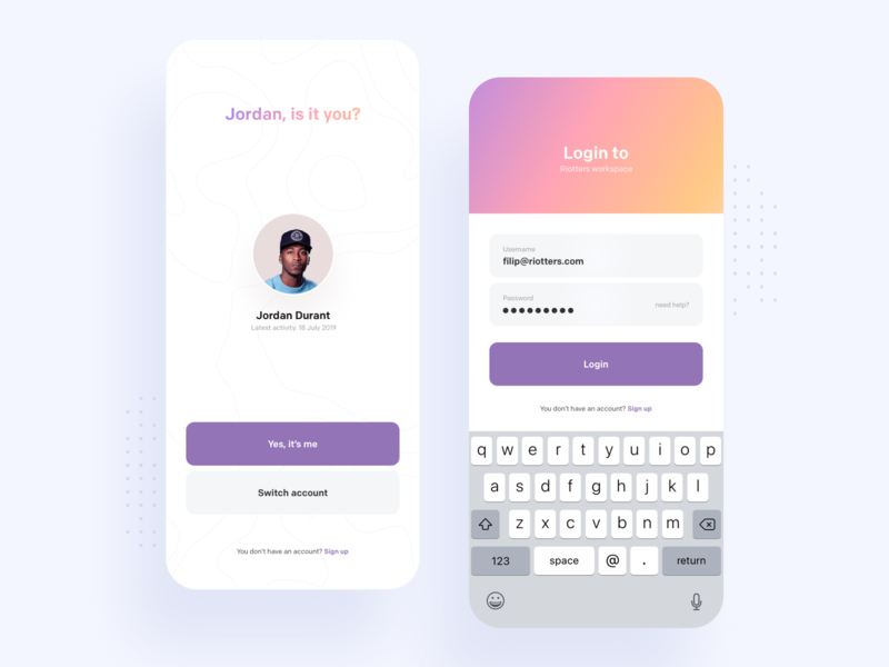 TimeNote - Login sign in sign up login landing typography application shadow round white colors ux mobile minimal blue ui gradient digital app design clean