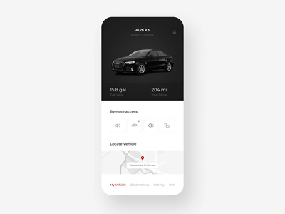 Audi Remote Car Application typography graphic application minimal navigation map audi remote car shadow round white mobile ux ui digital gradient app design clean