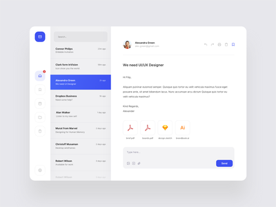 Mailclient typography graphic icon vector mail application round white shadow colors mobile ux minimal blue ui gradient digital app design clean