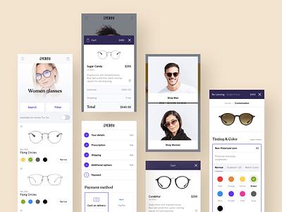 Eyebou - Eyeglasses Store - Mobile Version branding ui ux logo colors clean design mobile app minimal white shop store glasses mobile