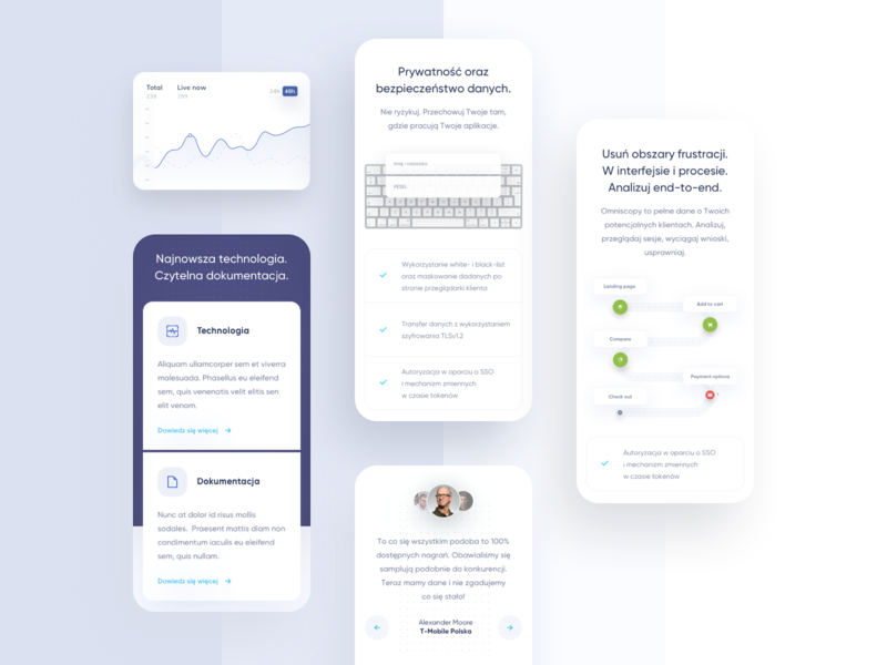 Monitoring & Analysis Customer Sessions - Mobile mobile ui chart analytics chart graphics recording session analysis monitoring landing landingpage mobile blue ux minimal gradient digital ui app design clean