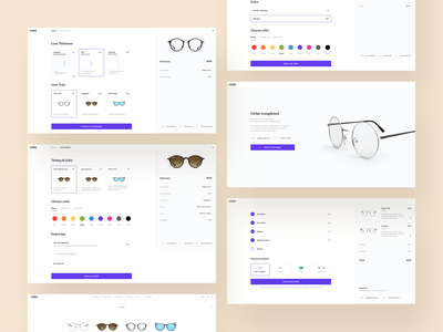 Eyeglasses Configurator ux minimal digital ui app design landingpage store design simple white clean shop store glasses configurator