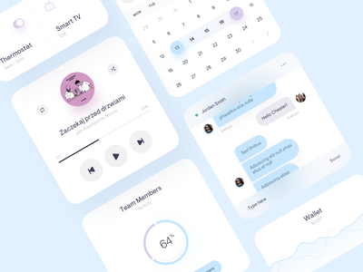 App widgets / UI Elements smarthome smart music player calendar chart application shadow mobile design app blue round white minimal ux ui colors widgets clean