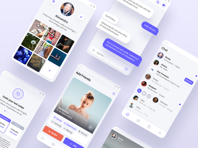 Hey - Mobile Application ios android design ui ux minimal shadow match messages purple white clean photos premium profile cards dating chat mobile app mobile