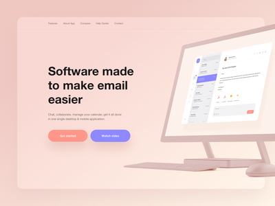 Email Application - Landing Page landing studio rounded shadow mockup purple orange white application email mobile blue ux minimal gradient digital ui app design clean