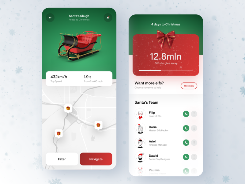 Santa's Application - Christmas Manager 🎅🏻🎁🎄 green ribbon card gift card winter elfs gift map white ui ux minimal gradient digital design app clean mobile christmas santa