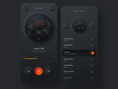 Simple Music Player neumorphism iphone mobile stream orange dark player music player music skeuomorphic round shadow colors uiux minimal gradient digital ui app design