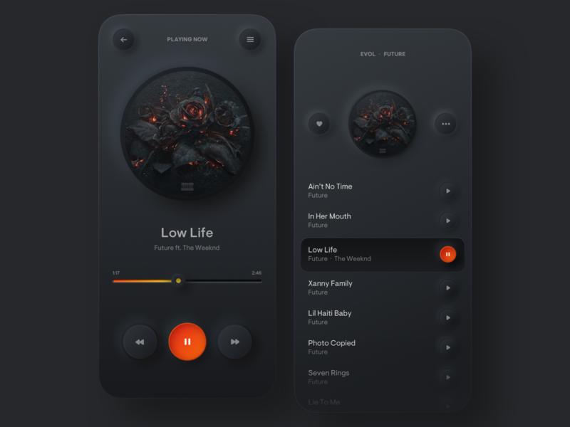 Simple Music Player neumorphism iphone mobile stream orange dark player music player music skeuomorphic round shadow colors uiux minimal gradient digital ui app design