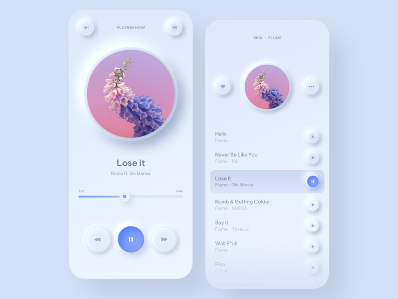☀️ Light Mode ☀️ Simple Music Player cover round ux mobile ui shadow music player blue neumorphic neumorphism music mobile minimal iphone white gradient digital redesign light colors app
