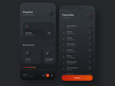 Playlists - Simple Music Player song ux ui playlist shadow round orange neumorphism neumorphic player music mobile minimal iphone gradient digital design dark colors app