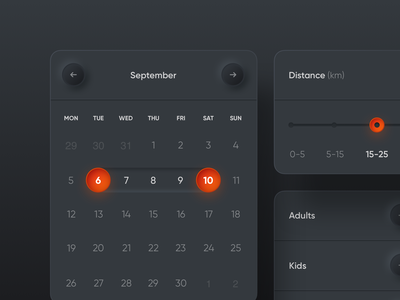 Neumorphism UI Elements minimal shadow round ux ui skeumorphism orange neumorphism neumorphic gradient search notification picker rent calendar elements widgets dark colors app