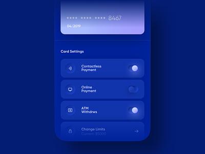 💵  Banking App  💵 payment 3d buttons toggle button toggl navy gradient neumorphic cash blur money chart dark blue skeumorphism minimal neumorphism card credit app