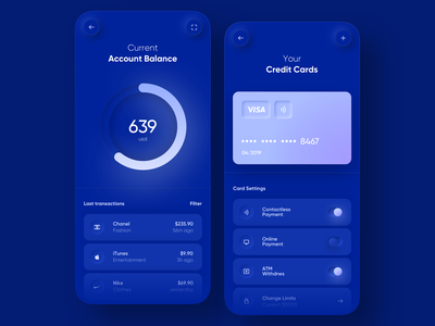 💵  Banking App  💵 payment 3d buttons toggle button toggl navy gradient neumorphic cash blur money chart dark blue skeumorphism minimal neumorphism card credit app