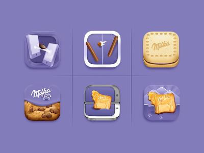 Milka biscuit saga : icons mobile web branding app icon logo illustration design brand design brand