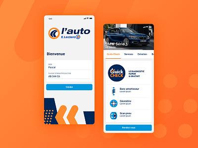 Auto Leclerc login screen design brand mobile ui app