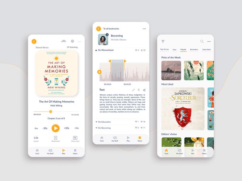 Audiobook App ux ui clean design e-learning ios app app design books audiobook audio