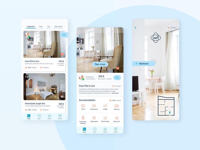Flatshare App Concept blue app design clean ui apartments room booking roommate flat flatshare