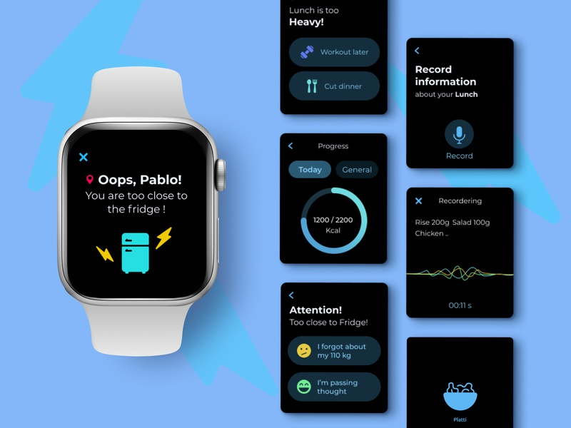 Nutrition Control App voice assistant dark mode nutrition apple watch