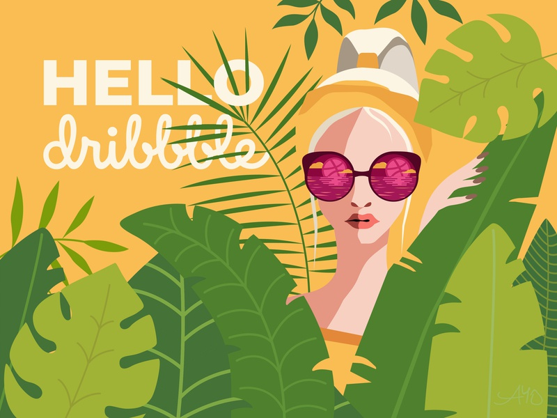 "Time to say,- ""Hello Dribble!"" leaf summer yellow tropic hello dribble hello dribbble"
