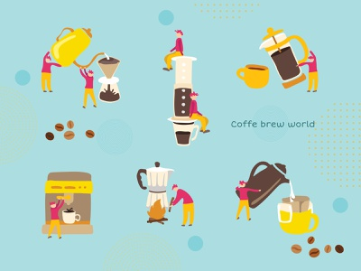 Icons Set character design character hand drawn brew coffee doodle icon set iconset