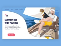 Pet-friendly Website Design pet pet-friendly website lifestyle illustration lifestyle captain beagle travel boat beatch homepage trip dog illustration dog sea summer website design