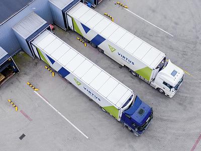 Virtus Logistics truck cars car lime blue logo branding design spedition transport logistics virtus