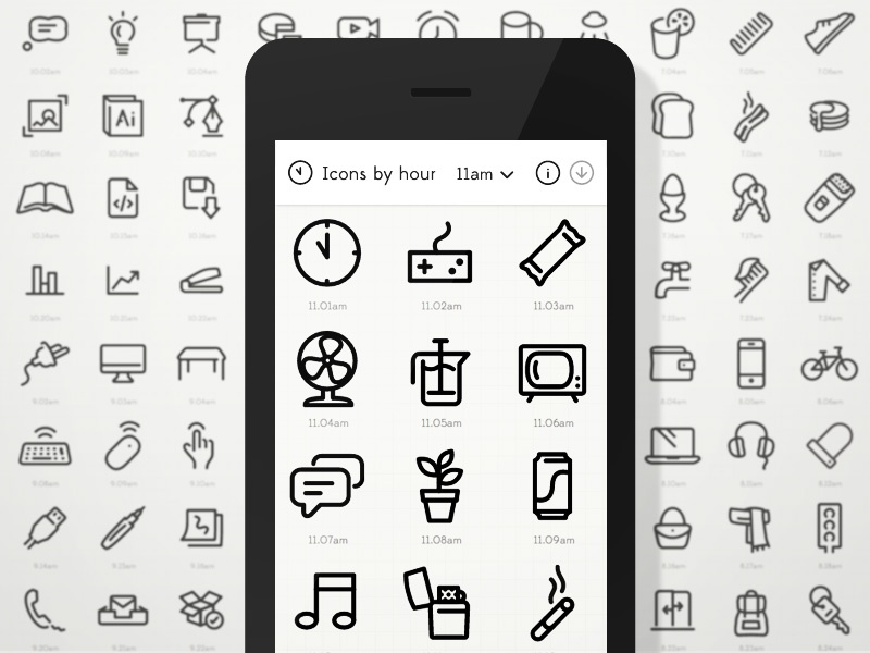 Icons by hour website launch icons minimal illustrator responsive svg vector scalable