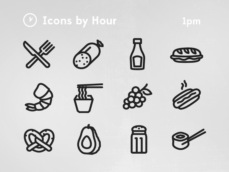 Icons by hour lunch