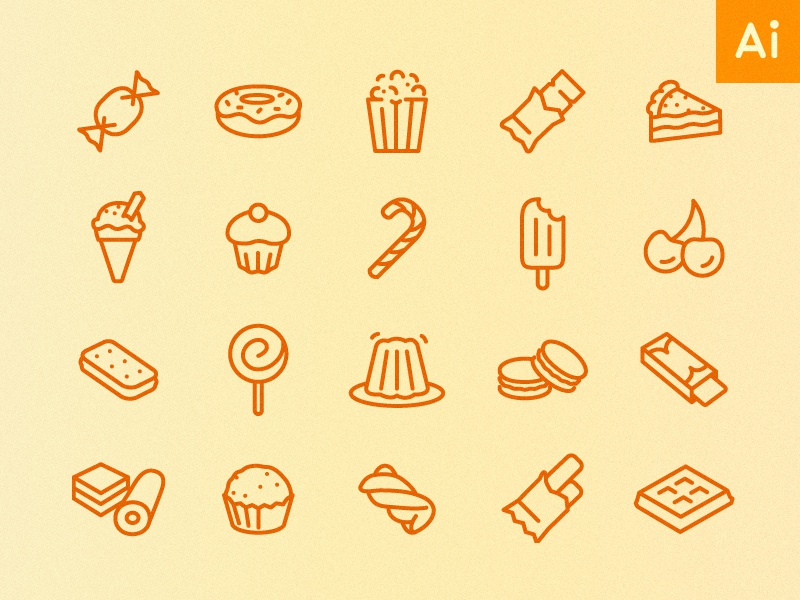 Icons by Hour - 2pm (Sweet Treats) minimal icons vector illustrator food sweets treats free