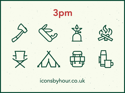 Icons by Hour - 3pm (Gone Camping) minimal icons vector illustrator camping tent outdoors icons by hour
