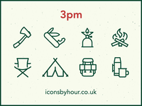 Icons by Hour - 3pm (Gone Camping)