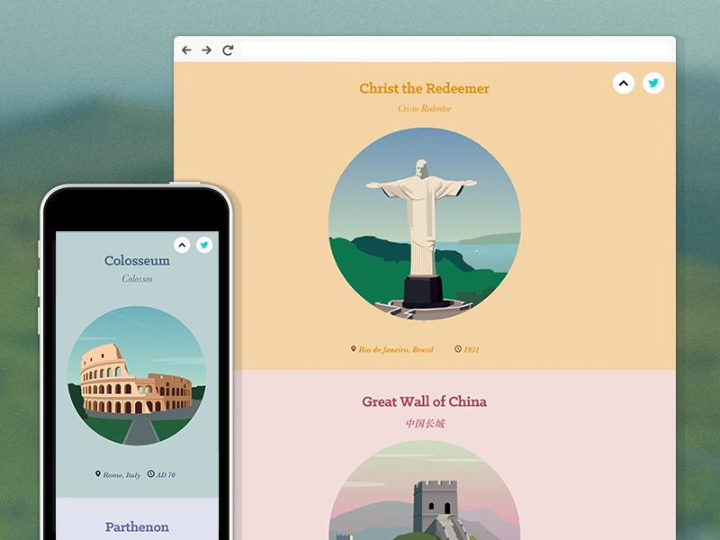 New Website: world-wonders.co.uk world wonders svg taj mahal christ the redeemer giza petra colusseum flat illustration
