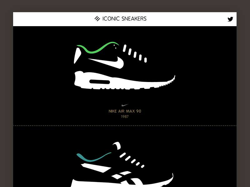 New Project: Iconic Sneakers responsive website ui sneaker design simpmle design minimal flat design illustration iconic sneakers
