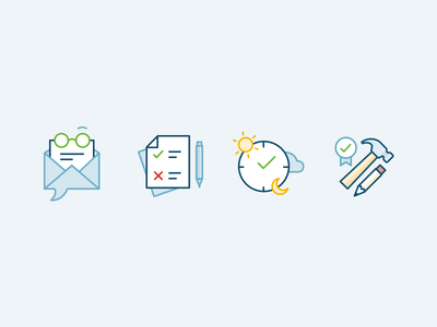 Volunteer icons volunteer tools magagement time line icons colours pastel illustrator flat minimal icons
