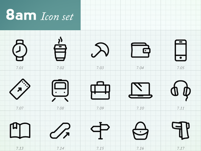 Minimal Icons by hour (8am)