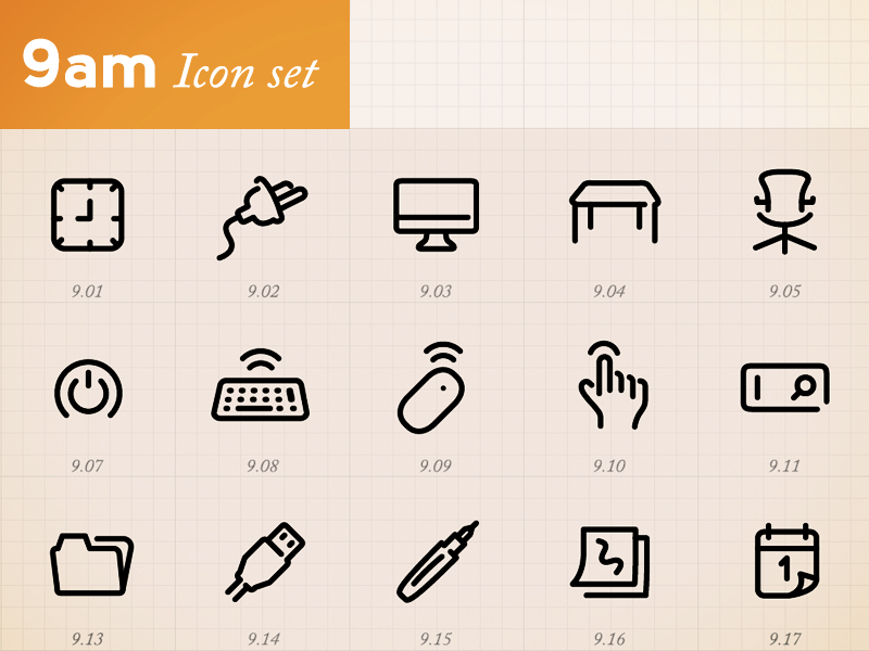 Minimal Icons by hour (9am)  minimal icons illustrator vector font symbols