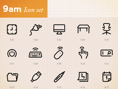 Minimal Icons by hour (9am)
