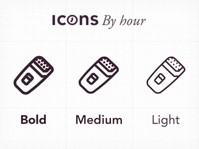 Icons By Hour - Weight adjustment minimal icons illustrator vector font symbols