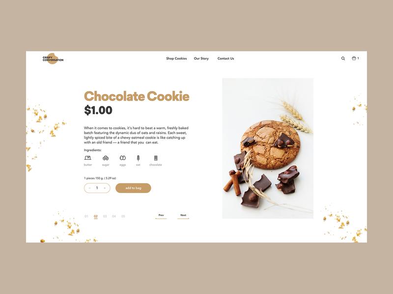 Crispy Conversation Product Page cinnamon chocolate website ecommerce uxuidesign uxui ux design webdesign ui cooking cookie